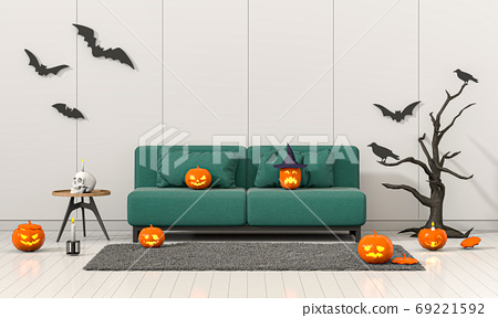 3D render Halloween party in living room with pumpkins, jack-o-lantern 69221592