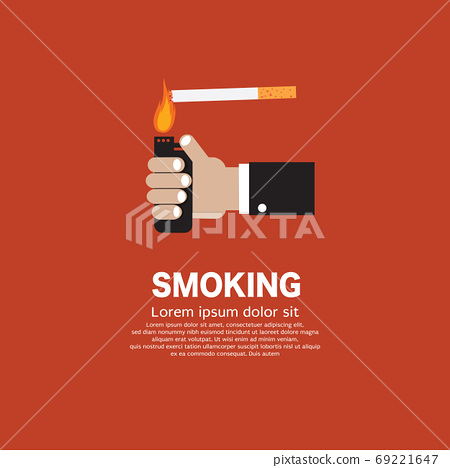 Man Hand Lit a Cigarette With a Lighter Smoking is Bad For Your 69221647