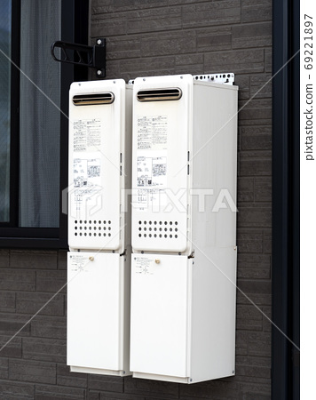 Gas water heater installed in the house 69221897