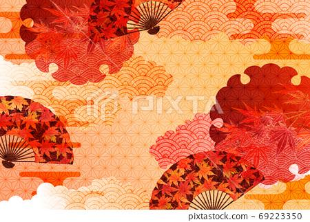 秋天的樹葉秋天日本圖案背景 69223350