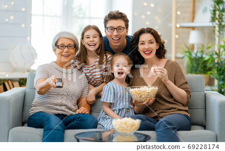 Happy family spending time together. 69228174