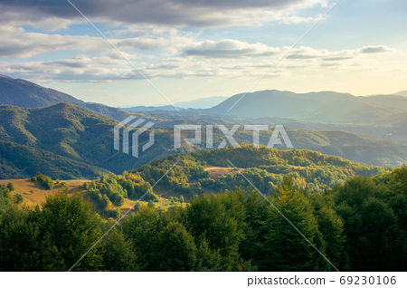mountainous countryside in the afternoon. beautiful landscape of 69230106
