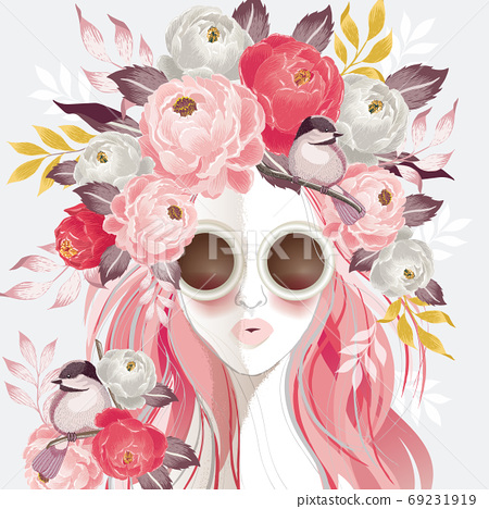 Vector illustration of a sunglasses woman with floral bouquet on her hair in spring for Wedding, anniversary, birthday and party. Design for banner, poster, card, invitation and scrapbook 69231919