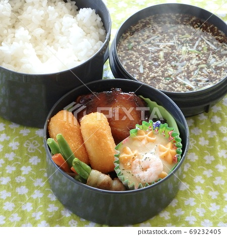 Handmade lunch with teriyaki chicken side dish and soup 69232405