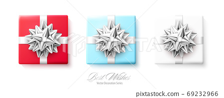 Set of gifts boxes with silver red bows and ribbons isolated on white background 69232966