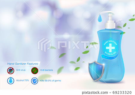 Hand sanitizing alcohol gel 75% alcohol components, kill up to 99.99% of covid-19 viruses, viruses and all germs. On a blurred blue background Packed in a clear plastic bottle.Advertising media. 69233320