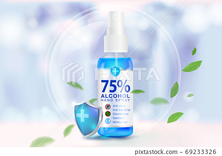 Hand sanitizer spray 75% alcohol components, kill up to 99.99% of covid-19 viruses, bacteria and germs on a blurred light blue background. Pack in clear plastic bottles used to spray.Realistic file. 69233326