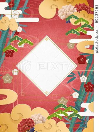 新年賀卡材料日本畫亞洲東方 69237565