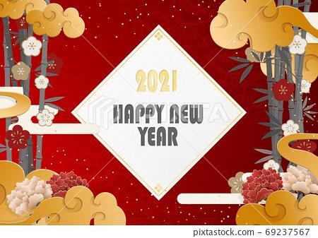 新年贺卡材料2021英语单词日本绘画亚洲东方 69237567