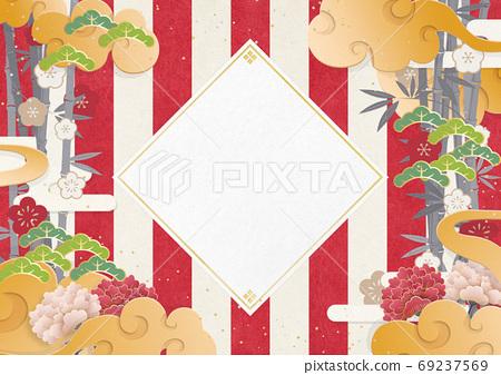 日本新年背景素材日本画亚洲东方红白幕 69237569