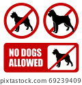 no dogs allowed. Dog prohibition sign - vector artwork 69239409