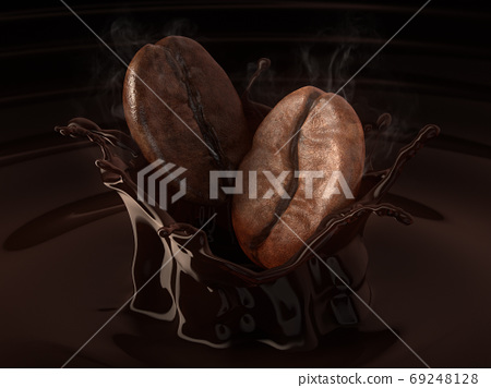 Arabica and Robusta coffee beans on splash coffee. 69248128