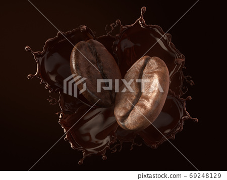 Arabica and Robusta coffee beans on splash coffee. 69248129