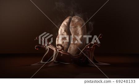 Arabica coffee bean with smoke on splash coffee. 69248133