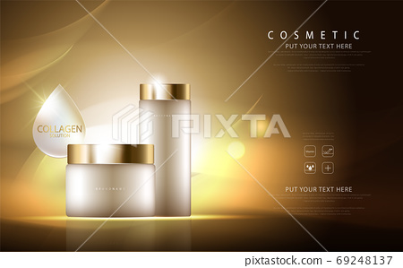 cosmetic product poster, bottle package design with collagen cream or liquid, sparkling background with glitter polka, vector design. 69248137