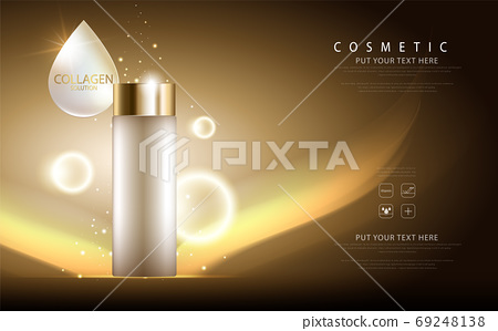 cosmetic product poster, bottle package design with collagen cream or liquid, sparkling background with glitter polka, vector design. 69248138