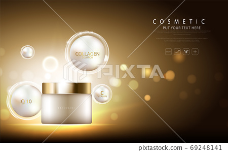 cosmetic product poster, bottle package design with collagen cream or liquid, sparkling background with glitter polka, vector design. 69248141