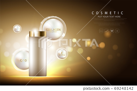 cosmetic product poster, bottle package design with collagen cream or liquid, sparkling background with glitter polka, vector design. 69248142