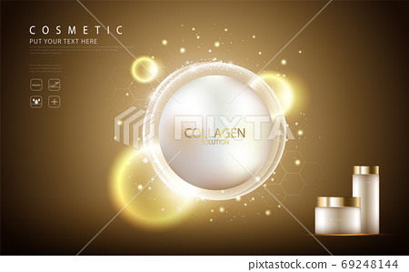 cosmetic product poster, bottle package design with collagen cream or liquid, sparkling background with glitter polka, vector design. 69248144