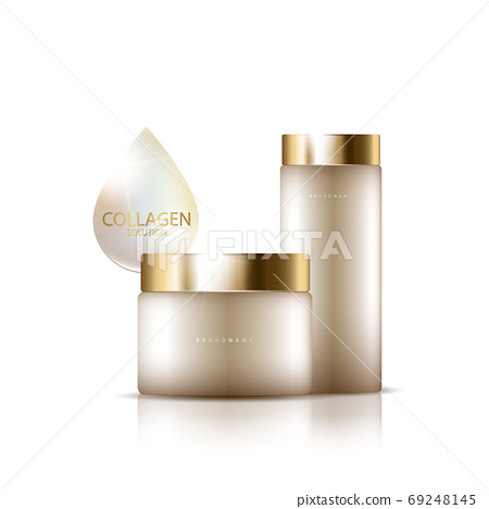 cosmetic product poster, bottle package design with collagen cream or liquid, sparkling background with glitter polka, vector design. 69248145