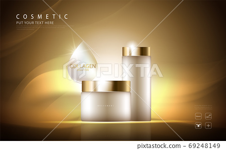 cosmetic product poster, bottle package design with collagen cream or liquid, sparkling background with glitter polka, vector design. 69248149