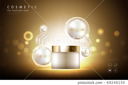 cosmetic product poster, bottle package design with collagen cream or liquid, sparkling background with glitter polka, vector design. 69248150