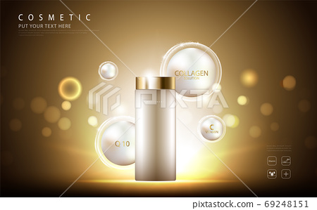 cosmetic product poster, bottle package design with collagen cream or liquid, sparkling background with glitter polka, vector design. 69248151