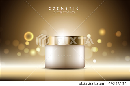 cosmetic product poster, bottle package design with collagen cream or liquid, sparkling background with glitter polka, vector design. 69248153