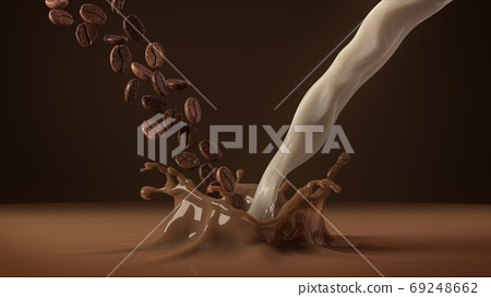 Coffee beans and milk falling in splash of coffee. 3D rendering. 69248662