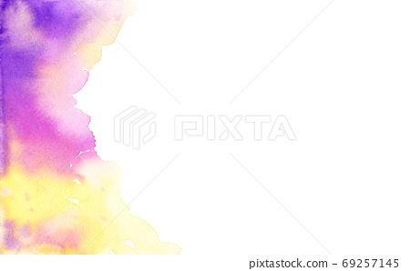 Colorful abstract paper texture. Watercolor hand painting. Magenta, purple and yellow on white background.  69257145