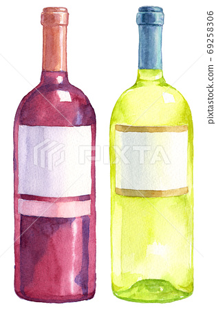 Watercolor White And Red Wine Bottles Stock Illustration 69258306 Pixta