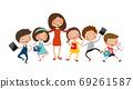 Teacher and kids back to school, education, vector, illustration 69261587