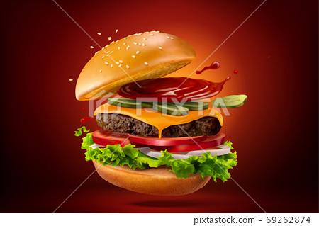 Closeup of homemade hamburger 69262874