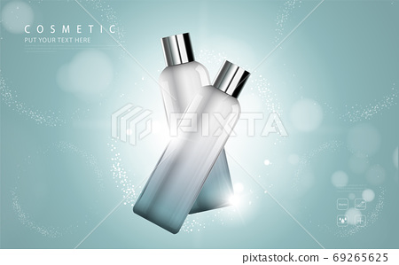 cosmetic product poster, bottle package design with moisturizer cream or liquid, sparkling background with glitter polka, vector design. 69265625