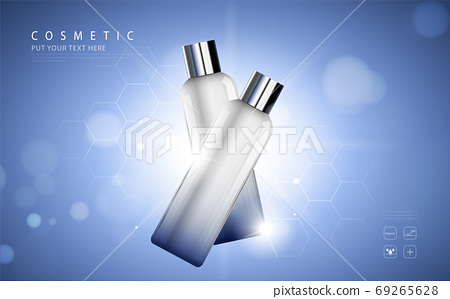 cosmetic product poster, bottle package design with moisturizer cream or liquid, sparkling background with glitter polka, vector design. 69265628