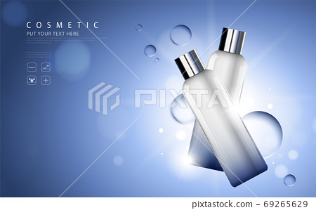 cosmetic product poster, bottle package design with moisturizer cream or liquid, sparkling background with glitter polka, vector design. 69265629