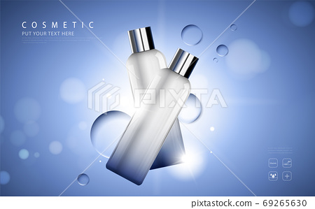 cosmetic product poster, bottle package design with moisturizer cream or liquid, sparkling background with glitter polka, vector design. 69265630