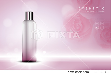 cosmetic product poster, bottle package design with moisturizer cream or liquid, sparkling background with glitter polka, vector design. 69265646