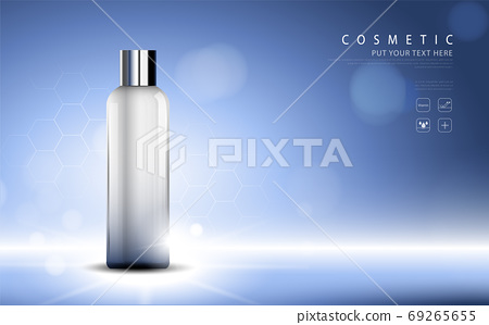 cosmetic product poster, bottle package design with moisturizer cream or liquid, sparkling background with glitter polka, vector design. 69265655
