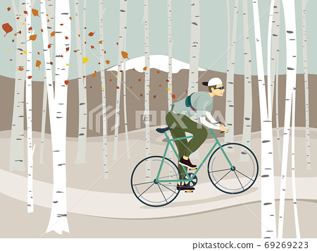 A man riding bicycle in winter birch forest background vector illustration design 69269223
