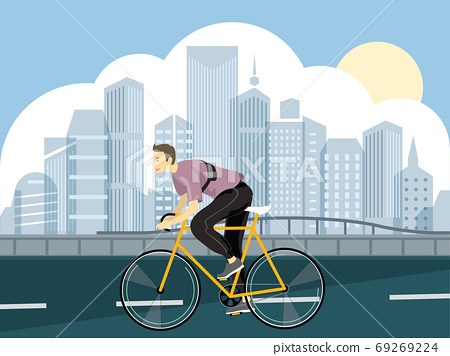 A man riding bicycle on a park road in city skyline background vector illustration design 69269224