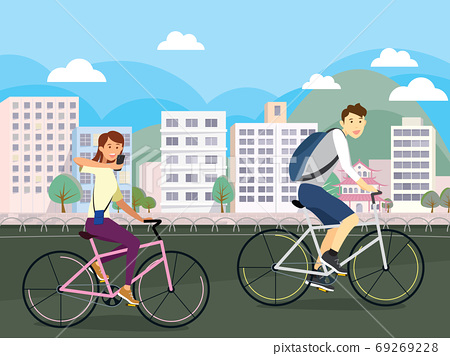 A couple riding a bike on a park road in the city background vector illustration design 69269228