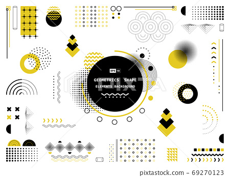 Abstract yellow and black pattern geometric shape of modern elements cover design.  69270123