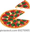 치즈와 살라미와 바질 이탈리안 푸드 피자의 일러스트 69270905