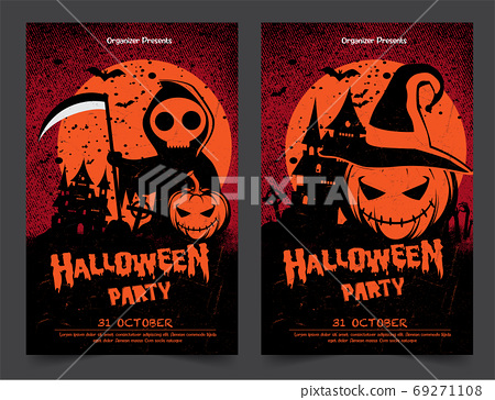Halloween night party background with full Moon, Halloween banne 69271108