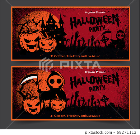 Halloween night party background with full Moon, Halloween banne 69271112