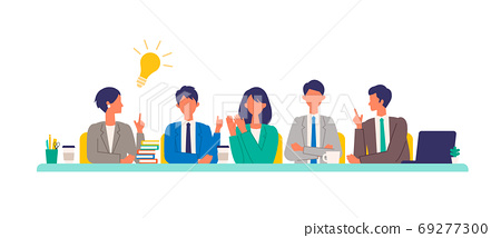 Illustration of a working person having a meeting 69277300
