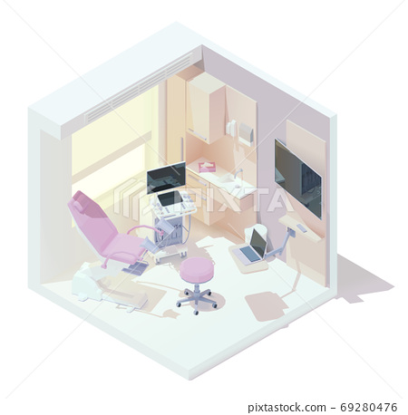 Vector isometric gynecologist office interior 69280476