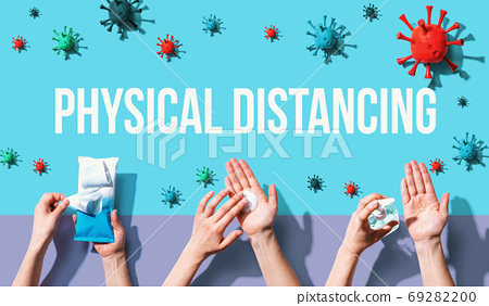 Physical Distancing theme with person washing their hands 69282200