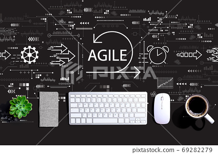 Agile concept with a computer keyboard 69282279
